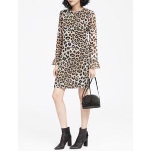 Banana Republic Ruffle Cuff Dress - Leopard print